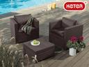 【送料無料】ラタン調 高級デザイン ガーデンテーブル 激安セット  Keter ハンバー テーブルセット【組立式】【ガーデンファニチャーセット】